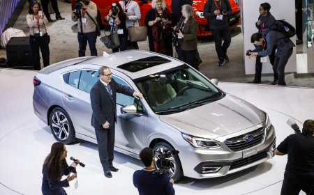 TORONTO, ON - FEBRUARY 14: Subaru unveils a new car at the 2019 Canadian International Auto Show at the Metro Toronto Convention Centre on February 14, 2019 in Toronto, Ontario, Canada. (Photo by Lucas Oleniuk)