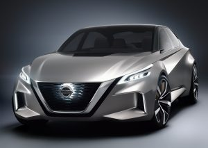 The Nissan Vmotion 2.0 is a new concept vehicle that signals the company's future sedan design direction and Intelligent Mobility technology. It combines a high sense of style, emotional design, roominess, comfort and technology to make the mobility experience seamless for busy professionals constantly on the go. The vehicle was revealed during a press conference at the 2017 North American International Auto Show.